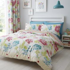 Stab Stitch Reversible Floral Duvet Cover Set - Multi