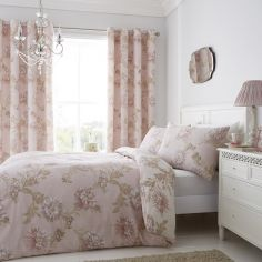 Chrysanthemum Floral Reversible Duvet Cover Set - Blush Pink