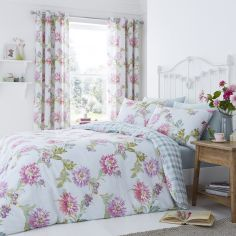 Chrysanthemum Check Reversible Duvet Cover Set - Duck Egg Blue & Pink