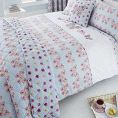 Embroidered Butterfly Bedspread - Duck Egg Blue & Pink