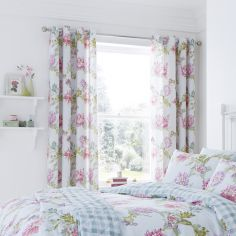 Chrysanthemum Check Lined Eyelet Curtains - Duck Egg Blue & Pink