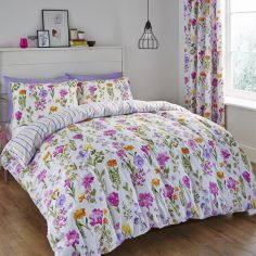 Floral Meadow Reversible Multi Colour Duvet Cover Set