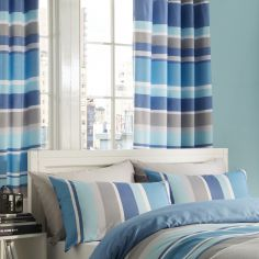 Textured Stripe Lined Eyelet Curtains - Teal Blue