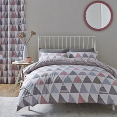 Scandi Geo Reversible Duvet Cover Set - Pink