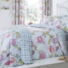 Chrysanthemum Check Floral Bedspread - Duck Egg Blue & Pink