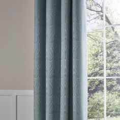 Luxury Ornate Jacquard Fully Lined Eyelet Curtains - Duck Egg Blue