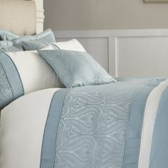 Luxury Ornate Jacquard Cushion Cover - Duck Egg Blue