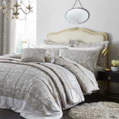 Luxury Opulent Jacquard Bedspread - Champagne / Natural