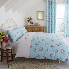 Embroidered Floral Duvet Cover Set - Duck Egg Blue & Pink