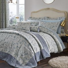 Luxury Opulent Jacquard Bedspread - Duck Egg Blue
