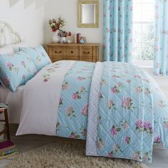 Embroidered Floral Reversible Bedspread - Duck Egg Blue & Pink