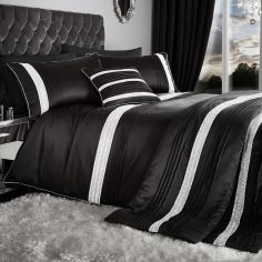Glamorous Diamante Bands Bedspread - Black