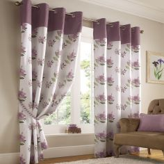 Hibiscus Floral Fully Lined Eyelet Curtains - Mauve Heather