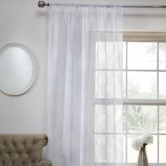 Fern Leaf Voile Curtain Panel - White