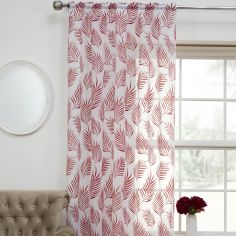 Fern Leaf Voile Curtain Panel - Red