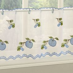 Winchester Gingham Caf� Net Panel - Blue
