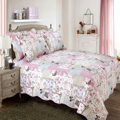 Boutique Butterfly Patchwork Quilted Bedspread - Pink Cream