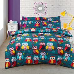 Owl Reversible Duvet Cover Set - Multi