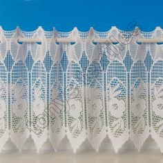 Rose Cafe Net Curtain - White