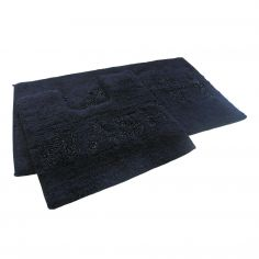 Bath & Wash 100% Cotton Sparkly Bath Mat Set - Black