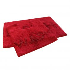 Bath & Wash 100% Cotton Sparkly Bath Mat Set - Red