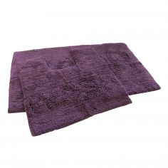 Bath & Wash 100% Cotton Sparkly Bath Mat Set - Purple