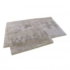 Bath & Wash 100% Cotton Sparkly Bath Mat Set - Silver Grey