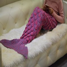 Mermaid Fish Tail Hand Knitted Blanket - Pink