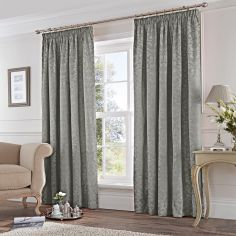 Cotton Rich Jacquard Fully Lined Tape Top Curtains - Silver Grey