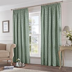 Cotton Rich Jacquard Fully Lined Tape Top Curtains - Duck Egg Blue