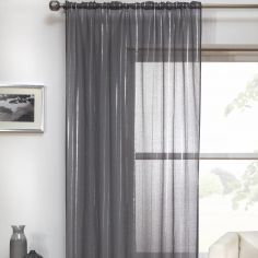Vertigo Striped Voile Curtain Panel - Charcoal Grey