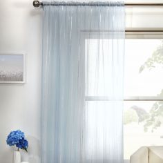 Vertigo Striped Voile Curtain Panel - Blue