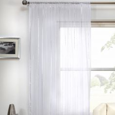 Vertigo Striped Voile Curtain Panel - White