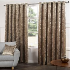 Kensington Crushed Velvet Fully Lined Ring Top Curtains - Champagne Natural