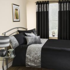 Amalfi Crushed Velvet Duvet Cover Set - Black
