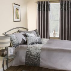 Amalfi Crushed Velvet Duvet Cover Set - Silver Grey