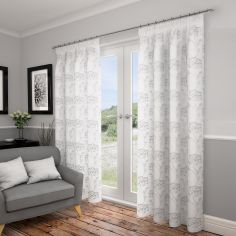 Lotus Floral Fully Lined Voile Curtains - White Silver