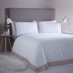 Madison Stripe Hotel Style Duvet Cover Set - White & Blush Pink