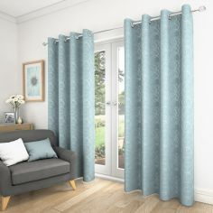 Saturn Fully Lined Eyelet Curtains - Duck Egg Blue