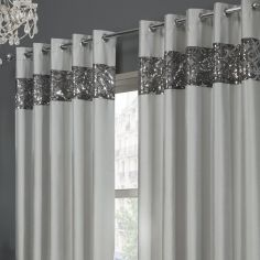 Rio Sequin Eyelet Ring Top Fully Lined Curtains - Silver