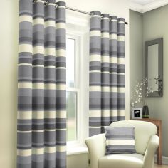 Charcoal Grey Striped Lined Eyelet Curtains