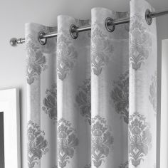 Luxury Anika Ring Top Voile Curtain Panel - Silver