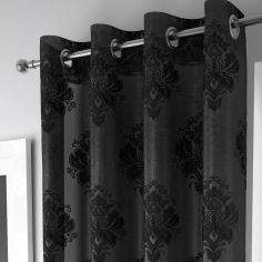 Luxury Anika Ring Top Voile Curtain Panel - Black