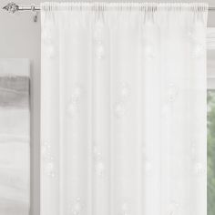 Analise Sequin Slot Top Voile Curtain Panel - White