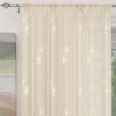 Analise Sequin Slot Top Voile Curtain Panel - Cream