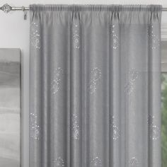 Analise Sequin Slot Top Voile Curtain Panel - Silver