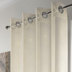Leah Ring Top Voile Curtain Panel - Champagne Gold