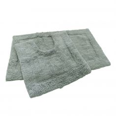 Super Soft 100% Cotton Pile Bath Mat Set - Grey