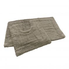 Super Soft 100% Cotton Pile Bath Mat Set - Taupe