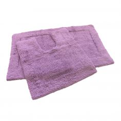Super Soft 100% Cotton Pile Bath Mat Set - Heather Purple